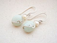 Freshwater Pearl Earrings, Sterling Silver Earrings, Amazonite Earrings