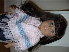 American Girl Doll Collared Pink & Blue Striped Poncho