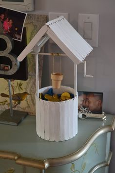 White wishing well from Popsicle Sticks