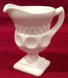 Vintage McKee Plymouth Thumbprint Milk Glass Pedestal Creamer Pitcher #McKee #ThumbprintDiamond