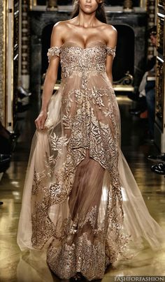Sexy Evening Dresses Zuhair Murad Off Shoulder Chiffion Lace Applique Champagne Celebrity Dresses Evening Gowns Style Couture, Couture Fashion, Runway Fashion, Net Fashion, Dress Fashion, Fashion Women, High Fashion, Sexy Evening Dress, Evening Dresses