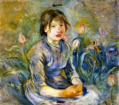 "Peasant Girl among Tulips.  Berthe Morisot (1841-1895) was a painter and a member of the circle of painters in Paris who became known as the Impressionists. She was described by Gustave Geffroy in 1894 as one of ""les trois grandes dames"" of Impressionism alongside Marie Bracquemond and Mary Cassatt."