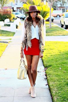 **fur with a pop of cherry red**