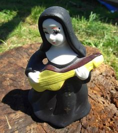 Vintage 1980s Nun Figurine Porcelain Bell with Yellow Guitar Kitsch