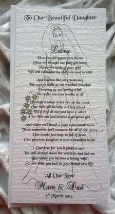 Mother+or+Parents+of+the+Bride+To+Daughter+Personalised+Wedding+Keepsake+Card £3.95