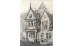 R. Beckett - 19th Century Graphite Drawing, At Worms