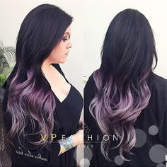 black hair with purple balayage - Google Search