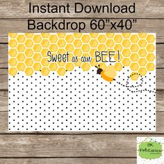 First Bee Backdrop - Sweet as can Bee backdrop- Honeycomb Honeybee Background - Photobooth Backdrop Baby Shower- Dessert table backdrop by okprintables, $8.00 EUR