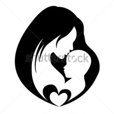 Mother Kissing Her Child, Isolated Vector Symbol stock vector ...