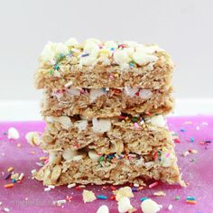 table for seven: {No Bake} Cake Batter Granola Bars