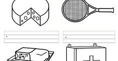 En estas fichas l@s alumn@s deberán escribir el nombre de las imágenes que aparecen y colorear los dibujos si se considera oportuno o aquell... Tennis Racket, April 13, Labyrinths, Note Cards, Words