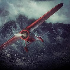 A representation of Amelia Earhart's transatlantic solo flight in May 1932 Amelia Earhart, Art Portfolio, Photo Manipulation, Sci Fi, Digital Art, Artwork, Instagram, Photos, Science Fiction