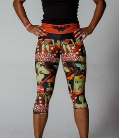 Wonder Woman  Capris Red (Final Sale)