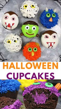 Stuffed Halloween Cupcakes are just like your favorite cream-filled cupcakes, only decorated with cute (and EASY) Halloween designs! Use frosting and store-bought candy to make four different Halloween cupcake designs: monsters, vampires, mummies, and Frankenstein's monster. | From SugarHero.com #sugarhero #halloween #dessert #cupcakes