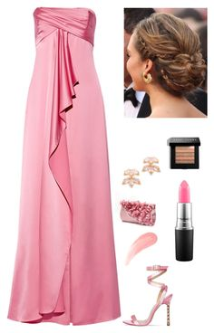 """Pink on the Red Carpet"" by kotnourka ❤ liked on Polyvore featuring Halston Heritage, MAC Cosmetics, Kate Spade and Bobbi Brown Cosmetics"