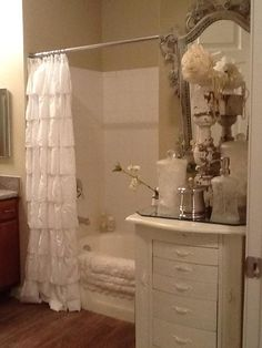 Shabby Chic  Bathroom, this theme is very close to how I pictured mine, but with a floor to ceiling curtain.
