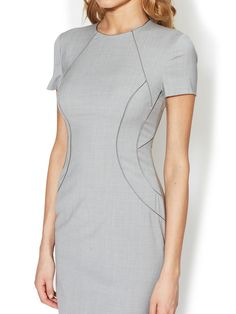 Wool Piped Panel Sheath by Ava & Aiden at Gilt