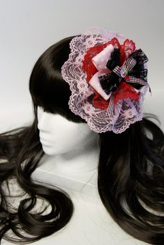 Red Black and Pink Cherry Hairpiece by SheenasBellaBows on Etsy