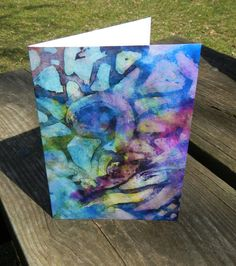 Purple Abstract Card Watercolor card blue green by OnyxClawStudios on etsy.
