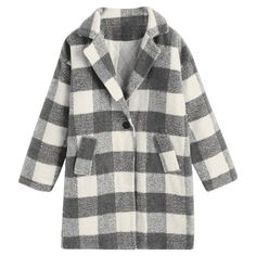 Lapel Checked Tweed Coat Plaid (612.450 IDR) ❤ liked on Polyvore featuring outerwear, coats, jackets, zaful, checkered coat, tweed wool coat, checked coat, tartan coat and plaid coat