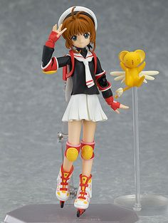 This figure of Sakura Kinomoto from CCS is her school uniform version. With her Japanese backpack, she looks ready to tackle those fractions (or to skate her way out). As with all Figmas, she's amazingly poseable.