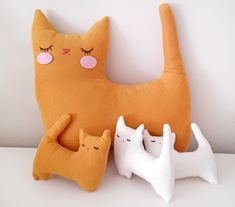 Handmade Plush Animal Doll nursery decor pillow, Cat Family This sweet mom cat and little kitties family is a one of a kind handmade gift for your cat lover kids and babies. Handmade Stuffed Animals, Sewing Stuffed Animals, Stuffed Animal Cat, Stuffed Toy, Baby Pillows, Soft Pillows, Decorative Pillows, Cat Doll, Cat Birthday