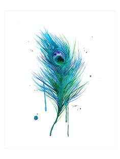 Peacock Feather Teal by Jessica Durrant (Canvas) from Jessica Durrant Art on Gilt