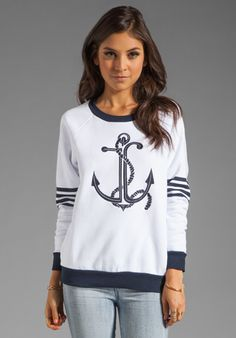 JUICY COUTURE Anchor Stripe Relaxed Pullover in White/Regal at Revolve Clothing - Free Shipping!