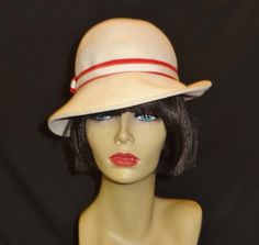 Vintage Off White Hat with Red and White Ribbon Trim