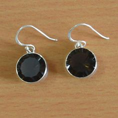 Classic Design Earring of Smokey Quartz in 925 Sterling Silver Earring.. FREE Shipping