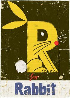Creative Illustration, Graphic, Paul, Thurlby, and Alphabet image ideas & inspiration on Designspiration Lapin Art, Alphabet Book, Alphabet Party, Alphabet Print, Alphabet Letters, Letter Collage, Bunny Art, Bunny Bunny, Rabbit Art