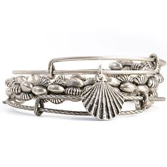 Alex and Ani Beachcomber Surfrider Set of 3 Bangles Rafaelian Silver
