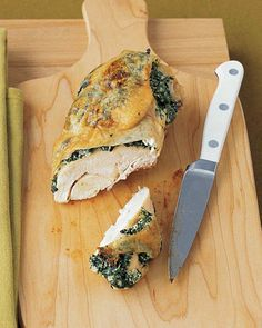 Chicken Breasts Stuffed with Spinach and Ricotta (make hasselback style with skinless chicken)