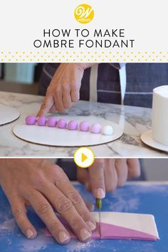 Creating an ombre effect using fondant for cake decorating is very easy! Watch this video and learn how to make the perfect light to dark shades of fondant. This video will take all of the guesswork out of knowing how much color you need to add to get the right variations! #wiltoncakes #cakedecorating #cupcakedecorating #cookiedecorating #desserts #ideas #fondantdesserts #ombredesserts #fondantideas #diy #tutorial #youtube #videos