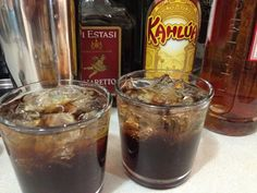 Dr Pepper Cocktail http://www.texannewyorker.com/2013/05/22/dr-pepper-cocktail/  Ingredients: 1 part Kahlua 1 part Southern Comfort 3/4 part Amaretto Club soda  Directions: Fill a tumbler glass with ice. Add ice to a cocktail shaker. Add the Kahlua, Southern Comfort, and Amaretto to the shaker. Shake to combine. Strain the mixture into the glasses. Top off with club soda and serve immediately. Makes 1 drink as written.