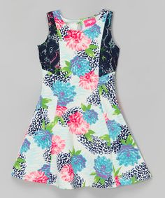 Another great find on #zulily! Blue & Pink Floral A-Line Dress - Toddler & Girls by Girls Luv Pink #zulilyfinds