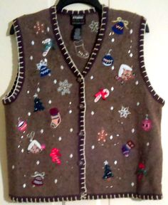 Studio Fa La La Brown Knitted Ugly Christmas Vest Size Large Ginger Bread Men, Candy Canes, Snowflakes, Bells, Christmas Trees, Stockings by AntiquesandStuff56 on Etsy