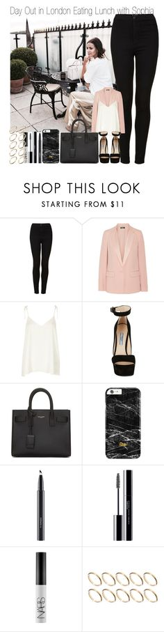 """Day Out in London Eating Brunch with Sophia"" by elise-22 ❤ liked on Polyvore featuring Topshop, DKNY, River Island, Prada, Yves Saint Laurent, MAC Cosmetics, shu uemura, NARS Cosmetics, ASOS and day"