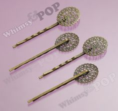10  Antique Bronze Filigree Bobby Pin Blanks and by whimsyandpop