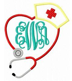 Stethoscope Heart with Nurses Cap Monogram Frame