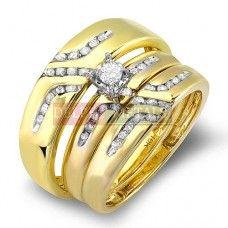 10K Yellow Gold Round White Diamond Men & Women's Wedding Set
