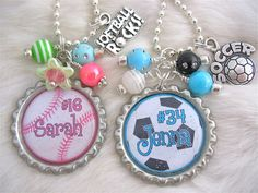 SOFTBALL & SOCCER NECKLACE custom sports Necklace - might be good idea for my kids' birthday