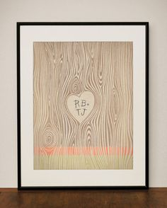 for ROSE: etsy-ProjectType by Miranda Lyn of Canyon Lake, TX: Customizable Wood Grain Heart 11x14 Art Print  $23.00
