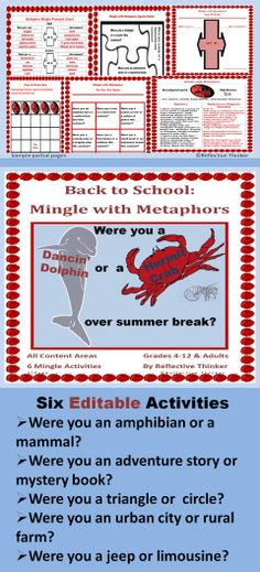 FUN for meet-n-greets (children and adults), get-to-know you events, icebreaker activities, and faculty meetings/ PD sessions!  Included are six activities with metaphors that can be used across the curriculum.  All sections of the resource can be edited.  The resource is most appropriate for Grades 4 and up including adults. The activities can be edited slightly for Grades 1-3.