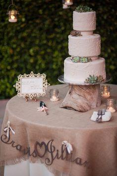 Wonderful Detail Filled Southwestern Desert Flower Themed Wedding at Maravilla Gardens - Fab You Bliss Garden Wedding, Wedding Table, Rustic Wedding, Wedding Cakes, Wedding Burlap, Wedding 2015, Our Wedding, Dream Wedding, Wedding Peach