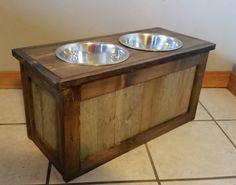 raised dog feeder with storage 3 bowl dog feeder keep food stored beneath bowls dogs. Black Bedroom Furniture Sets. Home Design Ideas