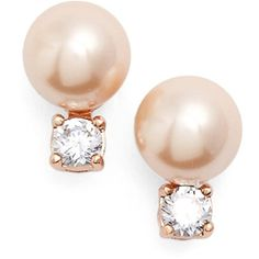 kate spade new york 'pearls of wisdom' faux pearl stud earrings ($38) ❤ liked on Polyvore featuring jewelry, earrings, blush multi, post earrings, kate spade, pearl jewelry, 14 karat gold stud earrings and pearl stud earrings