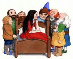 Snow White and the Seven Dwarfs art by unknown illustrator