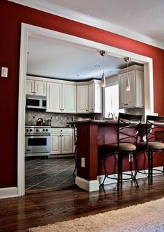 I love this color. I definitely want to paint my room, or an accent wall, some sort of dark red. #diningroomideasdiy