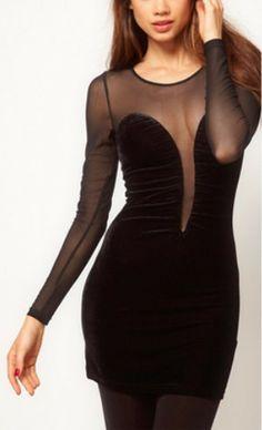 WANT // Black Contrast Sheer Mesh Yoke Long Sleeve Dress